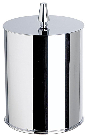 Satin gold round metal bathroom waste bin with cover for Covered bathroom wastebasket