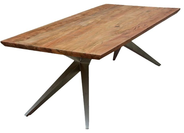 Sierra Spyder Rustic Wood Iron Rectangular Dining Table