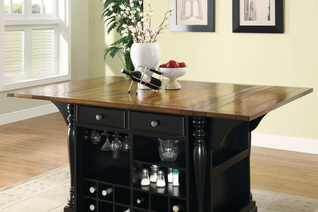 Cherry Black Wood Kitchen Island Cabinet Wine Rack Storage