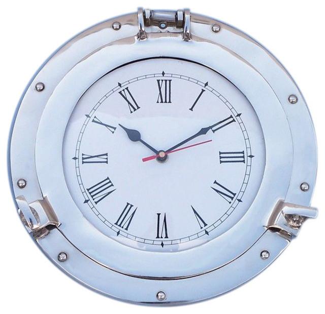 "Chrome Deluxe Class Porthole Clock 12"" - Nautical Wall Hanging clocks"