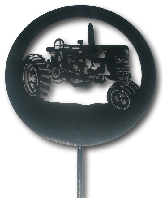 Tractor Garden Stakes : Foot tall tractor garden stake black farmall