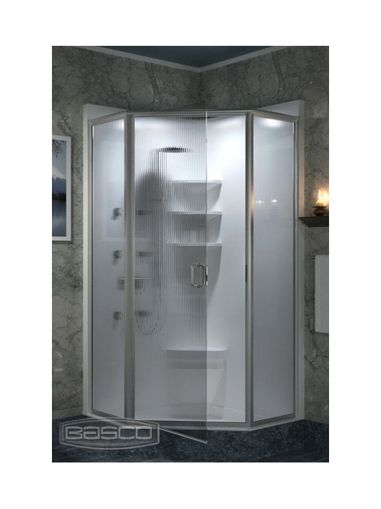 Bathroom Designs: Basco Shower Doors - Infinity Frameless Continuous Hinge Neo Angle featuring Brushed Nickel Finish