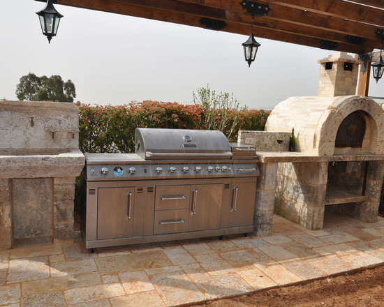 Kitchen Countertops out of  Antique Thick Limestone Slabs, (Mediterranean Style) -