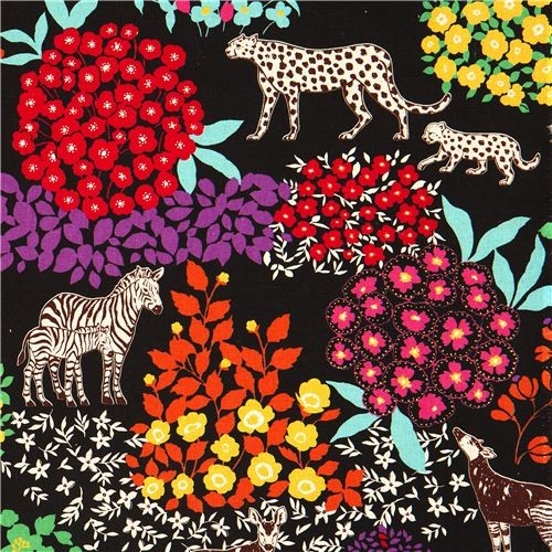 echino canvas fabric Bond black zebra leopard  fabric