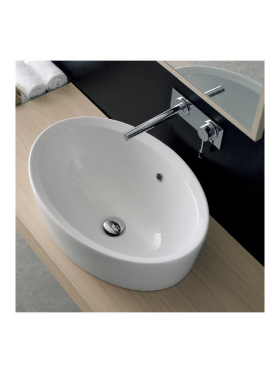 "Scarabeo - Stylish Oval Shaped Built-In Ceramic Sink - Designed and manufactured in Italy by Scarabeo. Stylish oval shaped drop-in bathroom sink includes overflow and has no faucet hole. Contemporary washbasin made of high quality white ceramic. Sink dimensions: 26.40"" (width), 18.10"" (depth)"