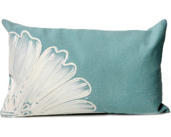 """Trans-Ocean Outdoor Pillows - Trans-Ocean Liora Manne Antique Medallion Aqua - 12"""" x 20"""" - Designer Liora Manne's newest line of toss pillows are made using a unique, patented Lamontage process combining handmade artistry with high tech processing. The 100% polyester microfibers are intricately structured by hand and then mechanically interlocked by needle-punching to create non-woven textiles that resemble felt. The 100% polyester microfiber results in an extra-soft hand with unsurpassed durability."""