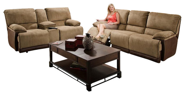 Catnapper Clayton Reclining 3 Piece Sofa Set in Camel and Chocolate transitional-sofas