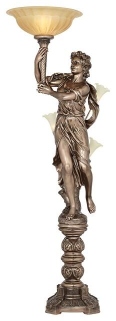Traditional Bronze Maiden Statue Torchiere Floor Lamp Traditional Floor Lamps By Lamps Plus