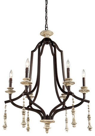 Norwich Distressed Wood Six Light Chandelier - modern
