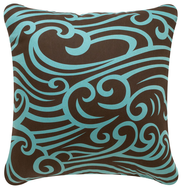 Wave Eco Pillow, Chocolate/Aqua, Chocolate/Aqua, 18x18, Without ...