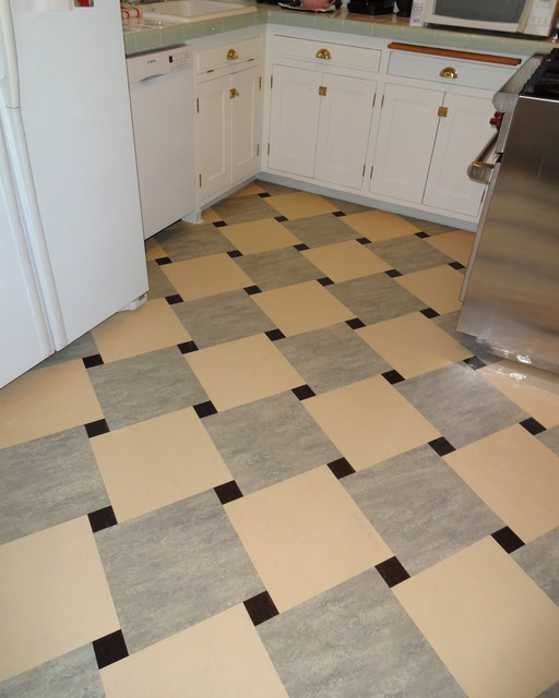 Marmoleum dual tile kitchen floor craftsman wall and for Craftsman style flooring