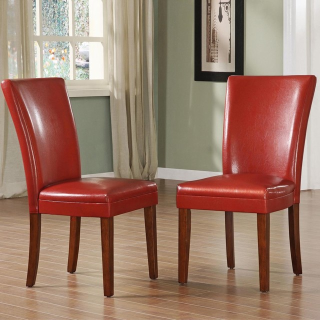 TRIBECCA HOME Charlotte Faux Leather Dining Chairs Red (Set of 2) contemporary-dining-chairs