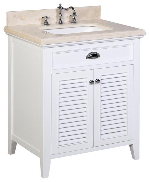 Savannah 30-in Bath Vanity (Crema Marfil/White) traditional-bathroom-vanities-and-sink-consoles