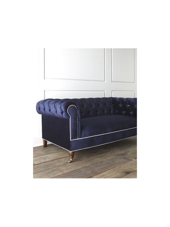 "Haute House - Haute House ""Jennings"" Sofa - Exclusively ours. From its tufted back to its rolled arms, contrast piping, and turned legs with casters, this impressive sofa makes a dramatic addition to living spaces. Alder wood frame. Rayon/polyester upholstery. Finished back. 81""W x 42""D x 3..."