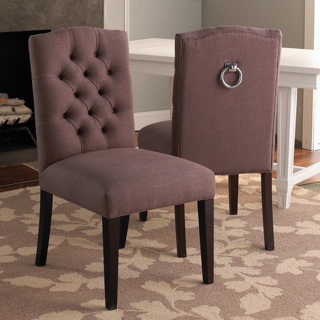 Tufted back Dining Chair w/Silver Ring dining-chairs
