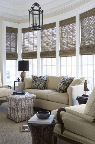 Woven wood shades mediterranean window treatments austin by distinctive window designs for Bamboo shades in living room