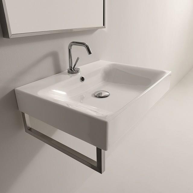 "Cento 26.6"" x 17.7"" Wall/Counter Ceramic Sink contemporary-bathroom-sinks"