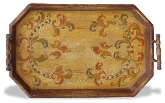 ... Tuscan Accessory Tray Hexagon, Rustic Brown traditional-serving-trays