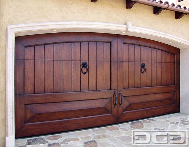 Mediterranean Revival 02   Custom Handcrafted Garage Door in Solid Mahogany Wood mediterranean-garage-doors-and-openers