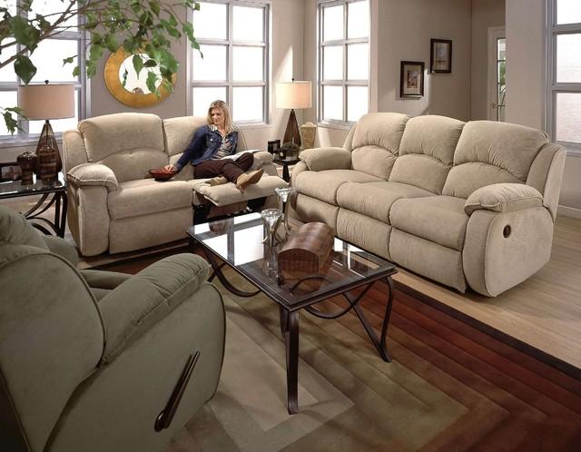 Recline Designs Gabriella Queen Sleeper Sofa Loveseat Wall Hugger Recliner Traditional