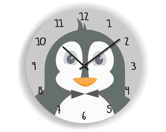 "Nursery Code - Nursery Wall Clock - PENGUIN Illustration - Kids Room Clock, Grey, 16"" Diameter - Nursery Wall Clock, Penguin- Boys room decor."