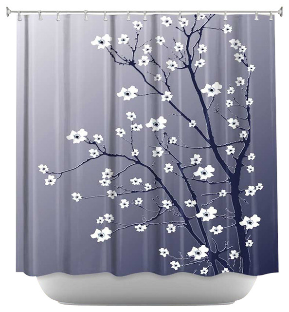 Shower Curtain Artistic Blooming Tree Blue Grey Contemporary Shower Cur