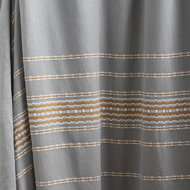 Coyuchi Rippled Stripe Pewter Shower Curtain - Modern - Bath Products ...