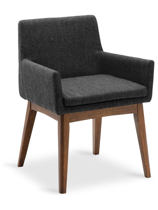 Bryght - Chanel Liquorice Fabric Upholstered Cocoa Dining Armchair - Stunning good looks and comfort define the Chanel dining armchair. It's splayed leg design sets the stage for a mid century modern appeal to your interiors.