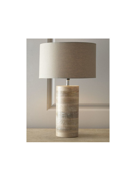 Horchow - Medowmack Wood Lamp - Subtle neutrality and the organic richness of wood blend beautifully in this modern lamp. This piece is sure to add ambiance to any decor. Pair with another to balance the look. Handcrafted white-washed wood. Tan linen shade. Three-way switch on s...