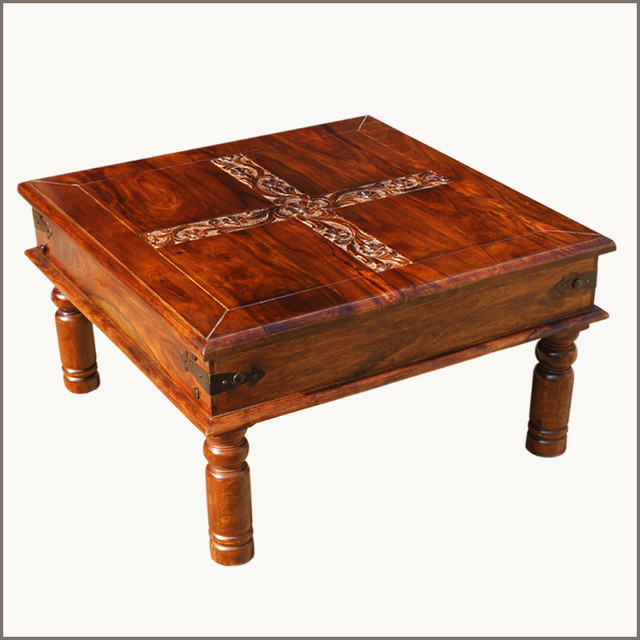 Camelot carved floral cross indian rosewood coffee table for Indian coffee table
