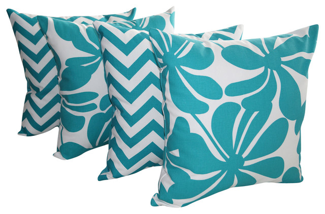 True Modern Pillows : Twirly and Zig Zag Chevron True Turquoise Decorative Throw Pillows - Set of 4 - Contemporary ...