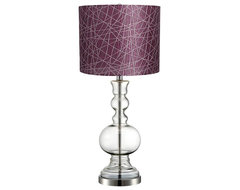 Contemporary Purple Lines Clear Glass Vase Table Lamp contemporary table lamps