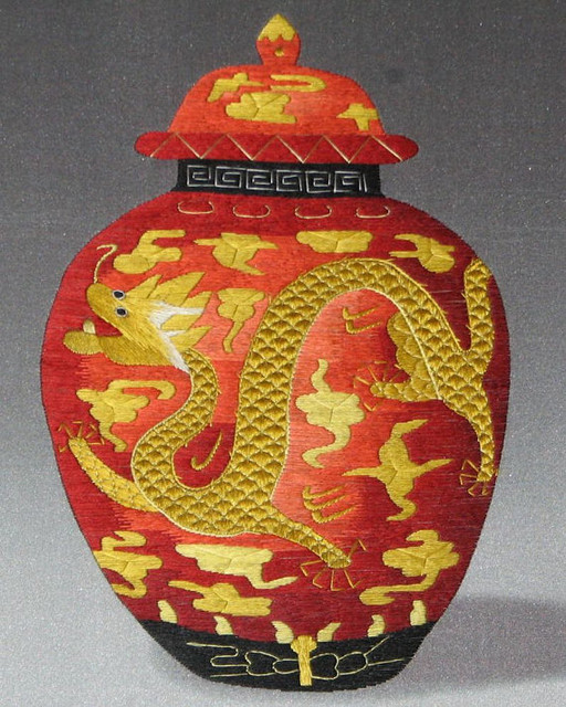 Embroidery Antique Golden Dragon Jar by Silk Embroidery asian-home-decor