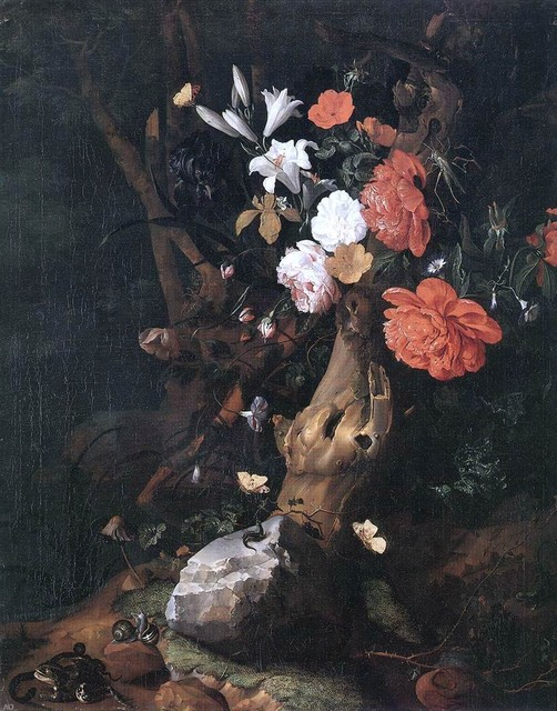 "Rachel Ruysch Flowers on a Tree Trunk - 18"" x 24"" Premium Archival Print traditional-artwork"