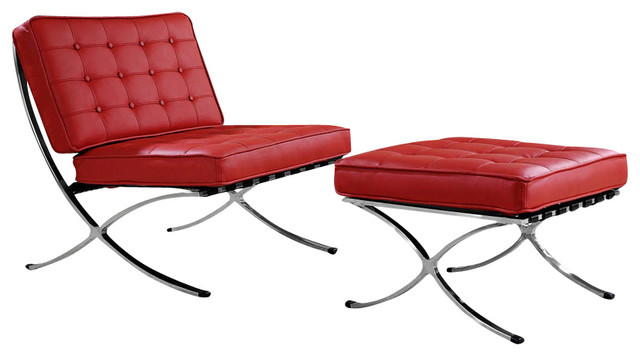 Modern Red Leather X Leg Chair And Ottoman Lounge Set Modern