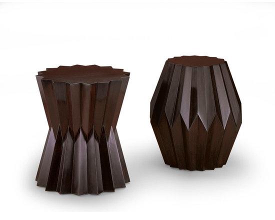 Origami Taborets - Cast composition.  Highly polished faux bois finish.  David Papas Photographer