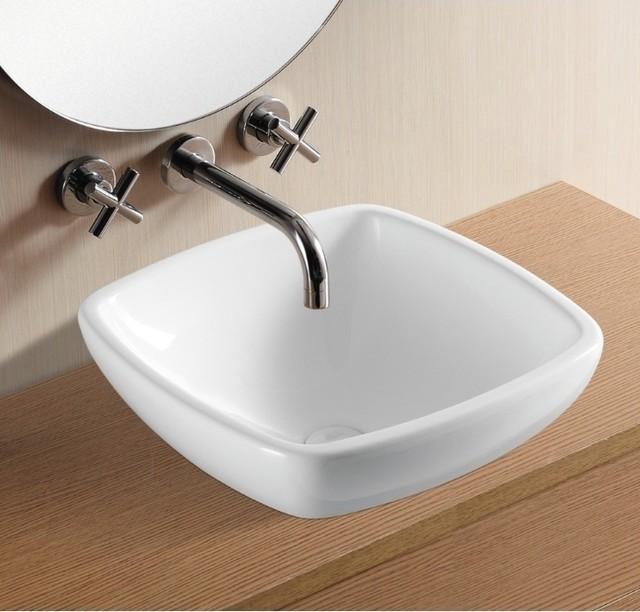 Square White Vessel Sink : Simple Square White Ceramic Vessel Bathroom Sink by Caracalla ...