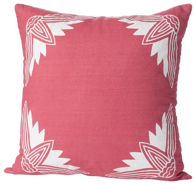 Alexandria Lotus Pillow, Rose/White contemporary-decorative-pillows
