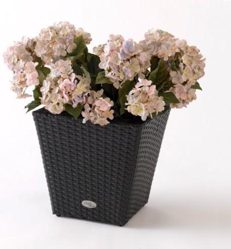 Square Resin Wicker Vista Planter contemporary-outdoor-pots-and-planters