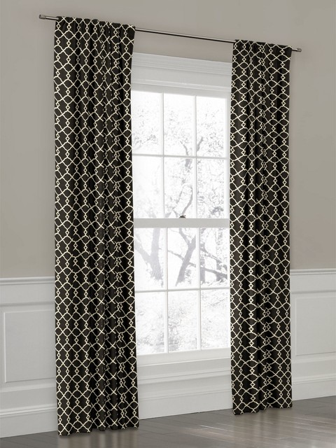 Black And White Toile Shower Curtain Black and White Geometric Fabric