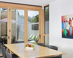 LaCantina Aluminum Wood Bifold Doors/ LG House - Design by thirdstone inc windows-and-doors