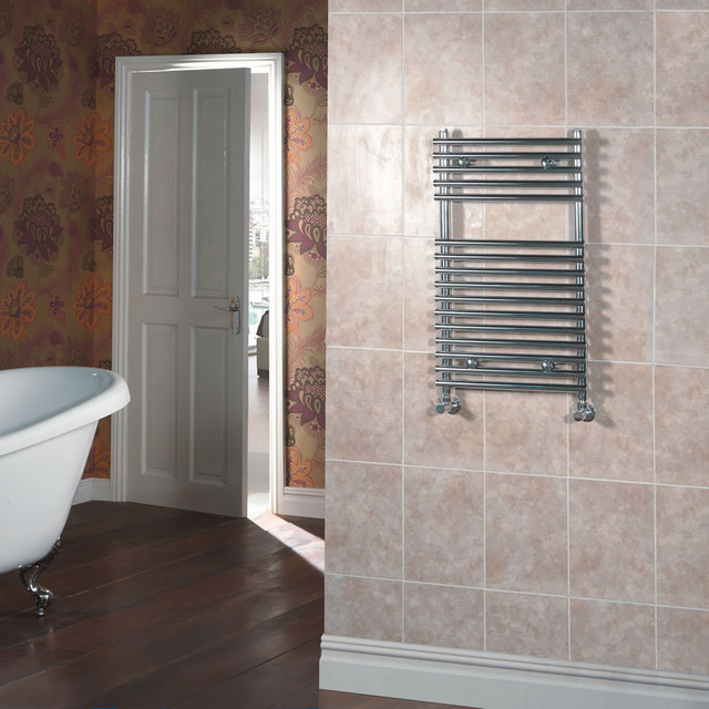 Flat Chrome Bar on Bar Towel Rail 30 inches x 24 inches contemporary-towel-warmers