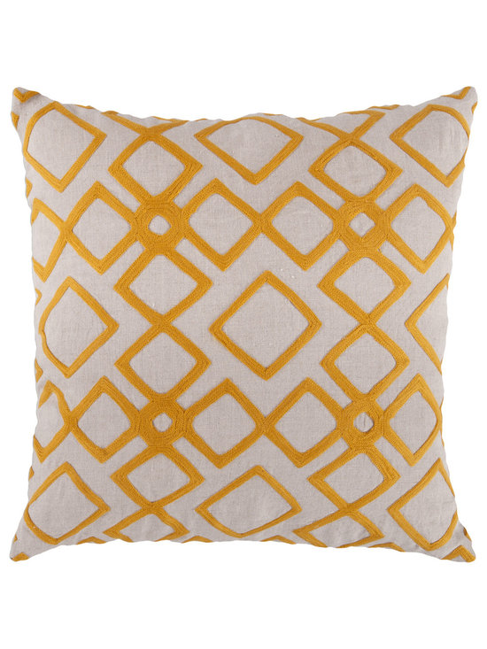"""Surya - Diamond Pattern Square Linen Pillow COM-016 - 22"""" x 22"""" - Looking for your very own diamond in the ruff? This is the pillow of your dreams. Its intricate geometric design permits the vibrant yellow to pop against the soft cream backdrop, creating instant charisma within even the blandest space. This pillow contains a zipper closure and provides a reliable and affordable solution to updating your home's decor."""