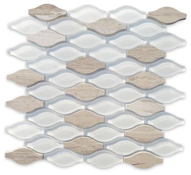 Iota Fleur De Sel Glass and Marble Tile tile