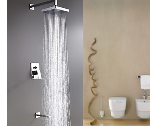 Shower Faucets - Wall Mount Contemporary Chrome Finish Rain Shower Faucet--FaucetSuperDeal.com
