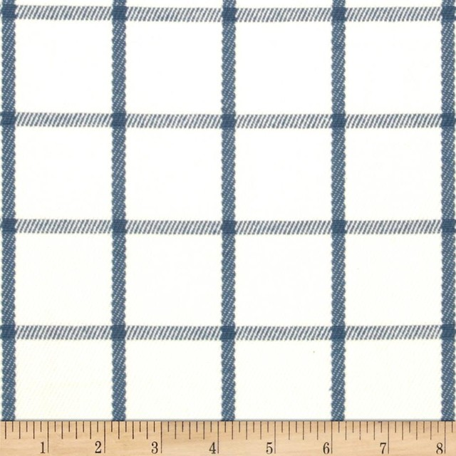 Tempo Windowpane Blue Fabric Traditional Fabric By