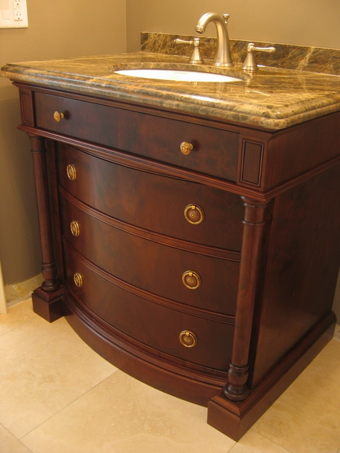 Glazed Walnut Vanity traditional bathroom vanities and sink consoles