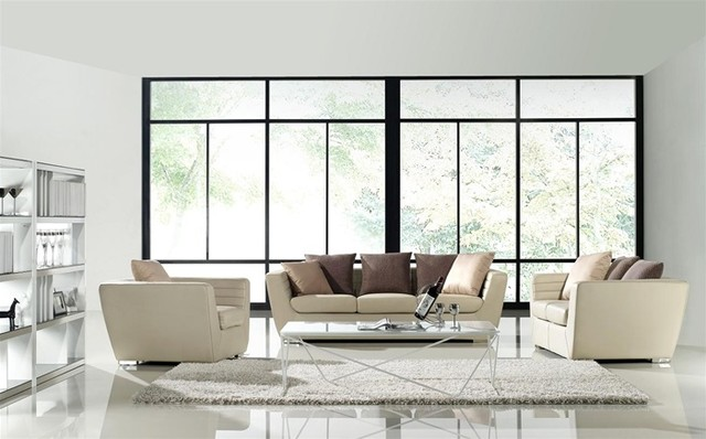 Robinson 3 Pieced Leather Sofa Set Modern Living Room Furniture Sets Minneapolis By