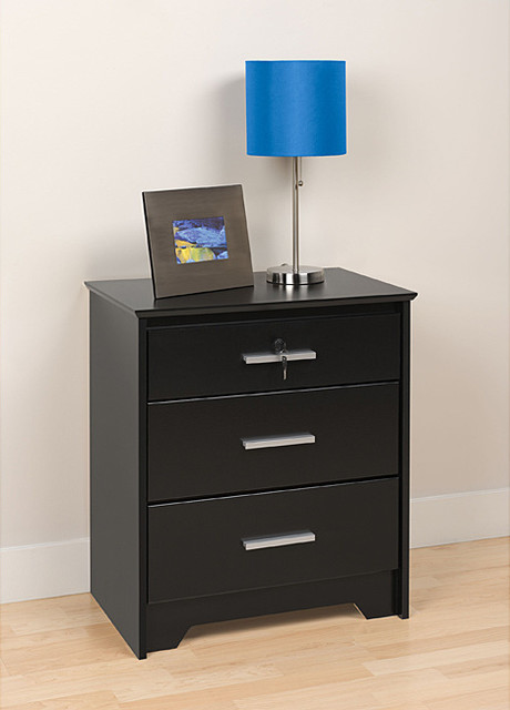 Yaletown Black Wide Locking 3-drawer Night Stand - Contemporary - Nightstands And Bedside Tables ...