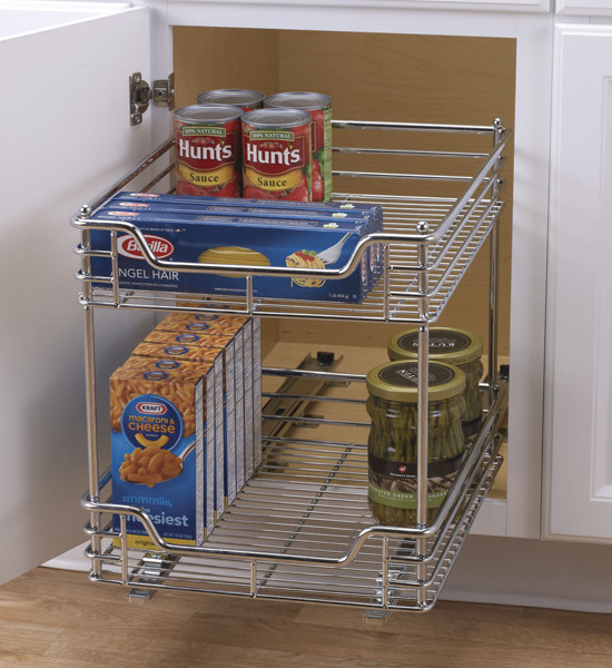 Chrome Two-Tier Sliding Cabinet Organizer - Pantry And ...